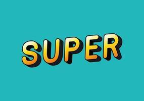 3d super lettering on blue background vector design