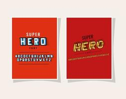 3d super hero lettering and alphabet on red backgrounds vector design