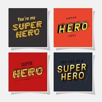 3d super hero lettering set on red and gray backgrounds vector design