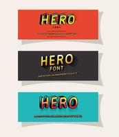 3d hero lettering set on red gray and blue backgrounds vector design