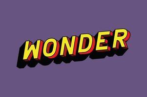 3d wonder lettering on purple background vector design