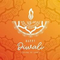 Happy diwali white arabesque mandala candle on orange background vector design