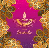 Happy diwali candle and gold arabesque flowers on pink and purple gradient background vector design