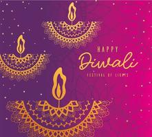 Happy diwali gold arabesque mandala candles on pink and purple gradient background vector design