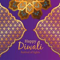 Happy diwali gold arabesque flowers and frames on purple background vector design