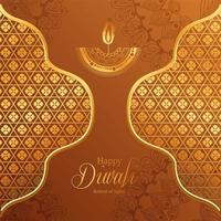 Happy diwali gold arabesque mandala candle and frames on brown background vector design