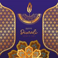 Happy diwali candle gold arabesque flowers and frames on blue background vector design