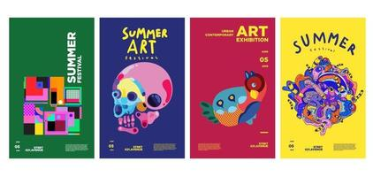 Summer art and culture exhibition colorful poster design vector