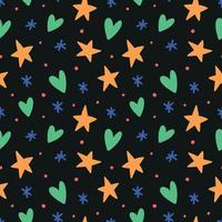 Seamless patteern with hearts and stars vector