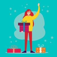 young female holding gift box saying hi illustration in flat style vector