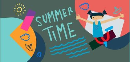 Summer time holiday season banner illustration for kids vacation vector