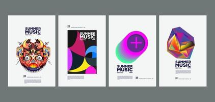 Summer holiday music and art festival poster set vector