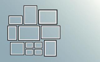 conjunto de marcos de cuadros negros vector