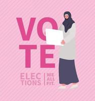 Cartoon muslim woman with banner for elections day vector