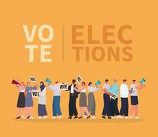 Cartoon people with vote lettering for elections day vector