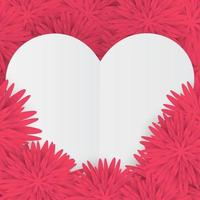 Valentine card with white heart on a pink floral background