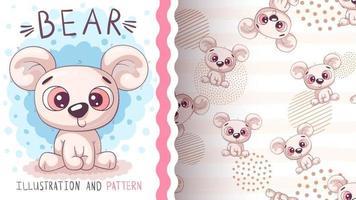 Cute bear cartoon character animal vector