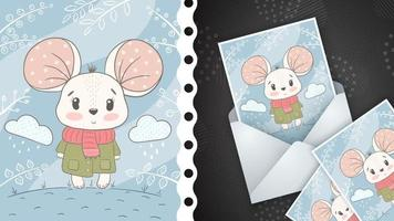 Childish cartoon character animal mouse - greeting card vector