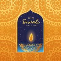 Happy Diwali candle card with arabesque mandala background vector