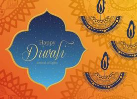 Happy Diwali candles card with arabesque mandala background vector