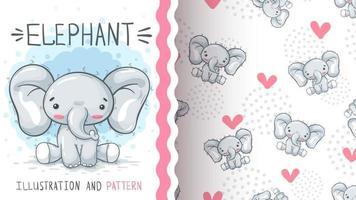 personaje de dibujos animados infantil animal elefante vector