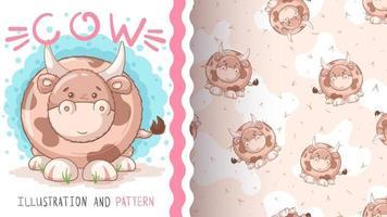 Adorable cartoon characte animal cow vector