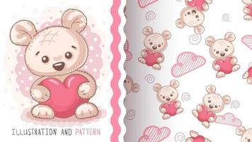 Childish cartoon character animal bear with heart vector