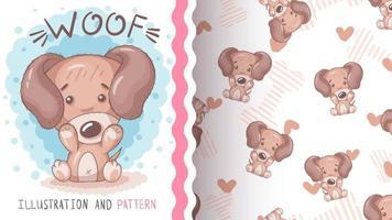 Funny cartoon character animal woof vector