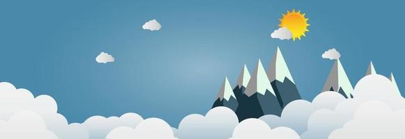 Mountains with beautiful sunset over the clouds. Paper art vector illustration