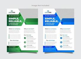Green and blue corporate flyer design vector