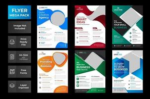Vector Business Flyer Template Set with Colorful Diamonds