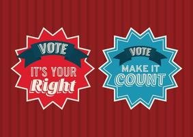 two vote seal stamps on red and striped background vector design
