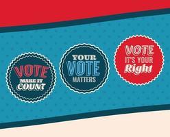 Tres sellos de sello de voto en diseño vectorial de fondo azul y estrellado vector