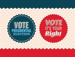 Dos sellos de sello de voto en diseño de vector de fondo estrellado