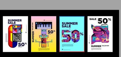 Summer music and fashion sale discount promotion banner template vector