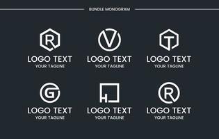 Monogram set logo design template. vector