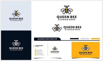 Bee honey creative symbol logo, queen bee linear logotype with business card template vector