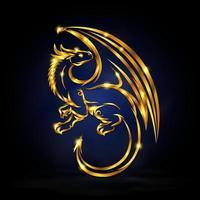 gold wyvern symbol vector