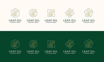 Set of Hand drawn label of extra virgin olive oil logo template vector
