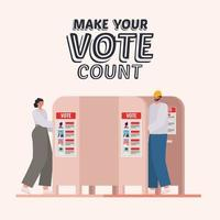 woman and man on the voting booth with make your vote count text vector design