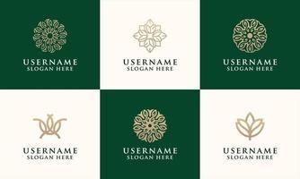 set of elegant flower logo templates for fashion or salons vector