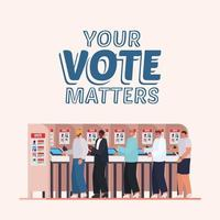 men at voting booth with your vote matters text vector design