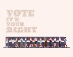people on the voting booth with vote its your right text vector design