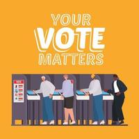men on the voting booth with your vote matters text vector design