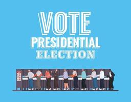 men on the voting booth with vote presidential election text vector design