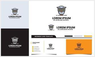 moderno y lindo logotipo de búho con plantilla de diseño de tarjeta de visita