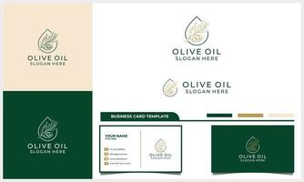Hand drawn label of extra virgin olive oil logo with business card template vector