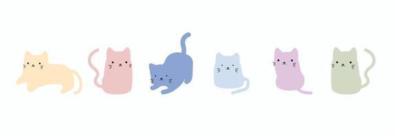 Cute cat doodle vector set