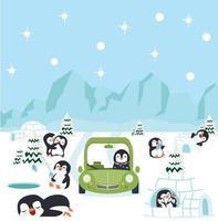 Polo norte ártico con pingüinos concepto de fondo vector