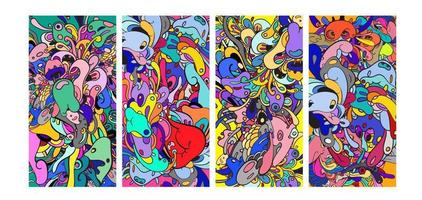 Vector colorful abstract cartoon doodle background banner